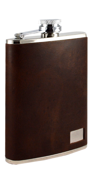 Taschenflasche Edelstahl Leder braun mit Aussparung für Gravur 170 ml