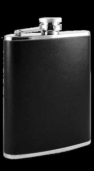 Taschenflasche Edelstahl Leder schwarz 170 ml